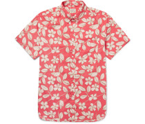 Button-down Collar Floral-print Cotton Shirt