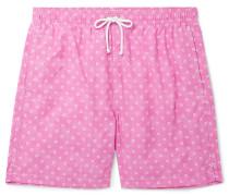 Slim-fit Mid-length Floral-print Swim Shorts