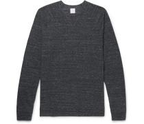 Waffle-knit Mélange Cotton-blend Jersey Sweatshirt