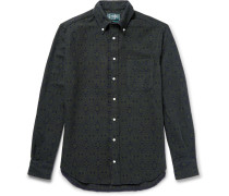 Button-down Collar Printed Cotton-flannel Shirt