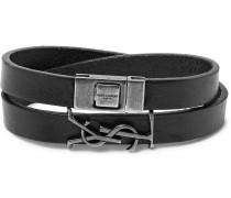 Ysl Bunished Leather Silver-tone Wrap Bracelet