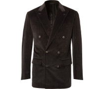 Dark-Brown Slim-Fit Double-Breasted Cotton-Blend Corduroy Suit Jacket