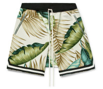 Printed Cotton Drawstring Shorts