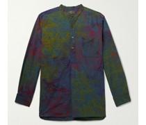 Grandad-Collar Printed Cotton Half-Placket Shirt