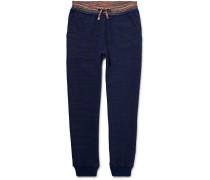 Tapered Mélange Knitted Cotton Sweatpants