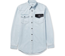 Cuban-fit Leather-trimmed Denim Shirt