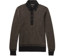 Jacquard-knit Cotton, Silk And Cashmere-blend Polo Shirt