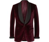 Burgundy Slim-fit Faille-trimmed Velvet Tuxedo Jacket