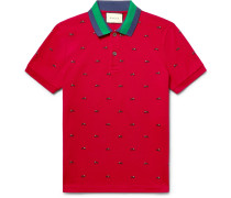 Slim-fit Embroidered Stretch-cotton Piqué Polo Shirt