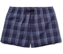 Arlen Slim-fit Mid-length Checked Seersucker Swim Shorts