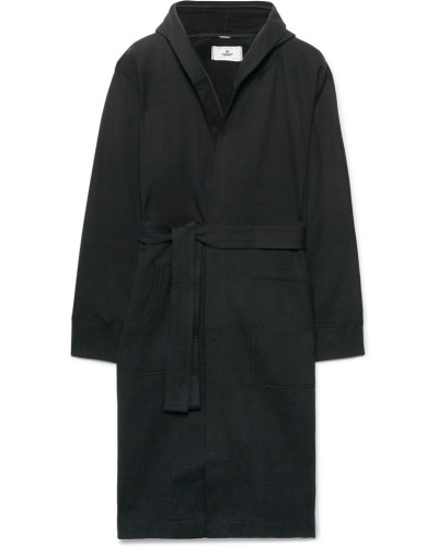 Loopback Cotton-jersey Hooded Robe - Black