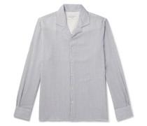 Dario Camp-Collar Striped Cotton-Blend Seersucker Shirt