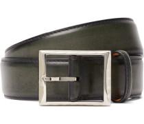 3.5cm Green Polished-leather Belt