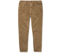 Tapered Cropped Cotton-velvet Trousers