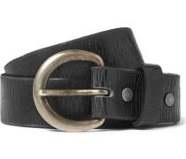 3cm Black Distressed Leather Belt