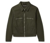 Garment-Dyed Brushed-Cotton Blouson Jacket