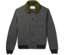 Foxham Faux Shearling-Trimmed Mélange Wool and Cotton-Blend Bomber Jacket