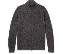 Cable-knit Mélange Wool-blend Zip-up Cardigan