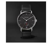 Metro Datum Stadtschwarz 38mm Stainless Steel and Leather Watch, Ref. No. 1103