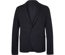 Midnight-blue Unstructured Stretch-jersey Suit Jacket