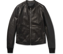 Panelled Grained-leather Jacket