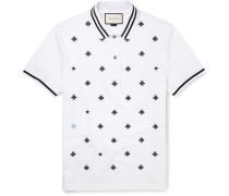 Slim-fit Embroidered Cotton-blend Piqué Polo Shirt