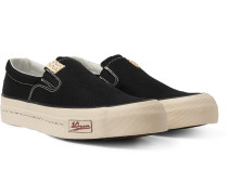 Skagway Leather-Trimmed Canvas Slip-on Sneakers