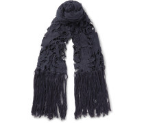 Flame Fringed Macramé And Cotton-voile Scarf
