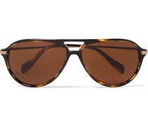 Braedon Aviator-style Acetate And Gold-tone Polarised Sunglasses
