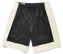 Colour-block Satin-twill Shorts