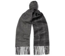 Fringed Patterned Mulberry Silk And Cashmere-blend Scarf