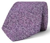 8cm Floral-embroidered Silk-jacquard Tie