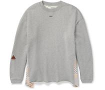 Oversized Tape-trimmed Mélange Cotton-jersey Sweatshirt
