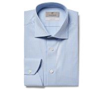 Blue Slim-fit Cutaway-collar Gingham Cotton-poplin Shirt