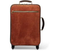 Leather-trimmed Suede Carry-on Suitcase