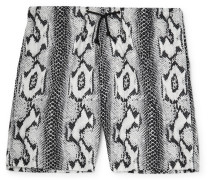 Snake-Print Shell Shorts