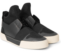 Suede, Leather And Mesh High-top Sneakers