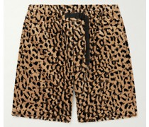 Belted Leopard-Print Cotton-Velour Shorts