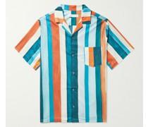 Cuban Camp-Collar Striped Cotton Pyjama Shirt