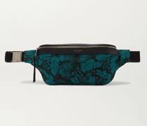Leather-Trimmed Printed Canvas Belt Bag