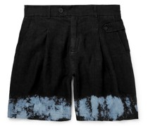 Wide-Leg Dip-Dyed Linen Shorts