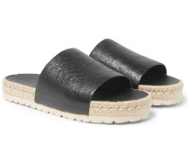 Rope-trimmed Creased-leather Slides