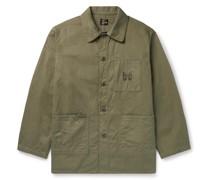 Logo-Print Herringbone Cotton Chore Jacket