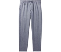 Tapered Stretch Cotton and Linen-Blend Drawstring Trousers