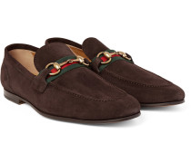 Elanor Horsebit Webbing-trimmed Suede Loafers