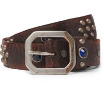 3cm Distressed Embellished Leather Belt