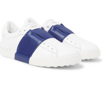Valentino Garavani Open Striped Leather Slip-on Sneakers
