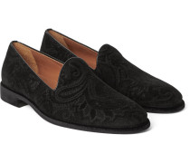 Paisley-patterned Velvet Loafers