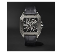 Santos de Cartier Skeleton Noctambule Hand-Wound 39.8mm ADLC-Coated Stainless Steel and Alligator Watch