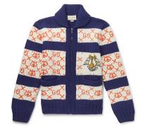 Intarsia Wool Bomber Jacket